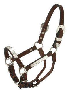 Royal King Silver Bar Show Halter - Dark Oil - Miniature by Royal. $43.10. Color: Dark Oil. Size: Miniature. Handsome bridle leather accented with hand engraved bright finished silver trim and buckle, tip and keeper. Double sewn for durability.