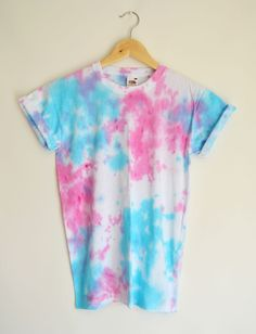 pink and blue tie dye shirt