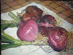 Cipolle di Tropea . Olio su tela dipinte da Carmen.