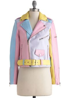 A Spin Around the Colorblock Jacket. Your daily joyride just got leagues more jovial, thanks to the pieced-together pastels this vegan faux-leather moto jacket by UNIF Clothing! #multiNaN