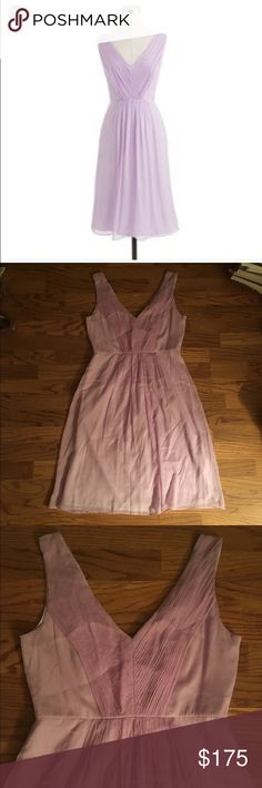 New J crew lavender silk chiffon dress Topping our best-fêtes list, this sweet, floaty dress in crinkled silk chiffon features a pleated bodice and a ruched waist for some added swing (it's a natural both on and off the dance floor).  Silk chiffon. Bra keeps. Back zip. Lined. Dry clean. Import. Online only. J. Crew Dresses Midi