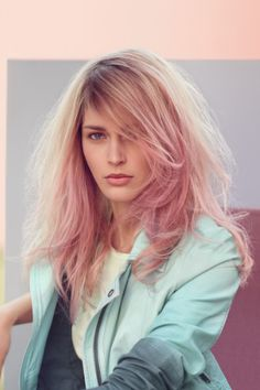 Pastel pink hair colour; John Azzi