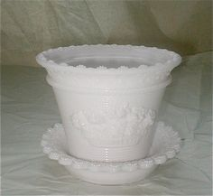 White Milk Glass Plant Pot and Dish  by studiostebbylee on Etsy