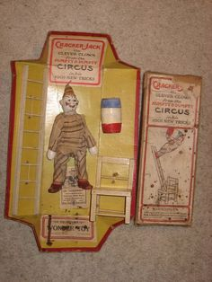 """""""Schoenhut Cracker-Jack, The Clever Clown """" From The """"Humpty Dumpty Circus"""".  Complete Boxed Schoenhut Clown,with ladder,barrel,and chair."""
