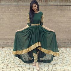 FatimaBi Plus size Fashion Indian Wedding Embroidery Green Anarkali Kameez Dress Indian Attire, Indian Wear, Afghan Dresses, Desi Clothes, Indian Clothes, Mode Hijab, Pakistani Outfits, Indian Designer Wear, Indian Dresses