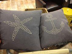 Nautical decor pillows anchor and starfish