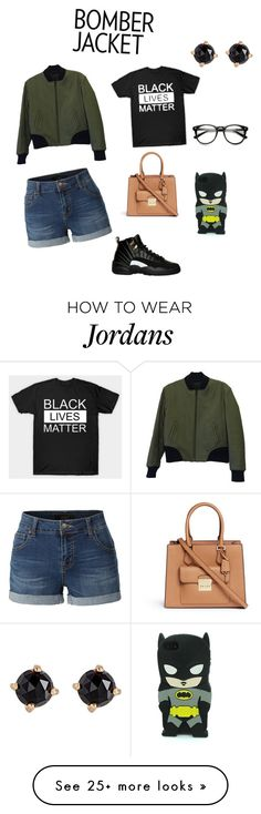 """""""I tried my best"""" by ayannawilliams1212 on Polyvore featuring rag & bone, LE3NO, Michael Kors, Irene Neuwirth and bomberjackets"""