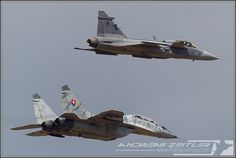 """Slovakian Air Force Mikoyan Guerivich Mig 29AS """"Fulcrum""""  in formation with Saab Gripen,at Slovak International Air Display (SIAF) at their home base Sliac, on 31/08 - 01/09/2013."""