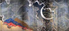 加山又造 Matazo Kayama. Japanese folding screen. Twentieth century. Crescent Moon