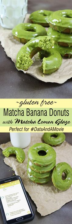 Matcha Banana Donuts With Matcha Lemon Glaze #ad #DataAndAMovie