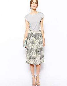 Warehouse | Warehouse Pleated Print Midi Skirt Dress at ASOS