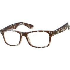 bcb69fb95a5 A retro style plastic full rim frame in an abstract geometric pattern of  brown and white
