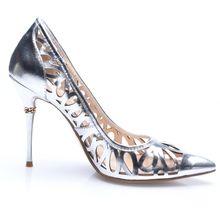 Silver Peep Toe Hollow High Heels Shoes - Sheinside.com
