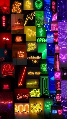 Neon rainbow aesthetic phone wallpaper