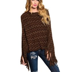 Urban People Chevron Aztec Fringe Brown Slouchy Poncho Sweater Bohemian One Size Poncho Sweater, Knitted Poncho, Urban People, Brown Sweater, Boho Chic, Bohemian, Chevron, Ideias Fashion, Sweaters For Women