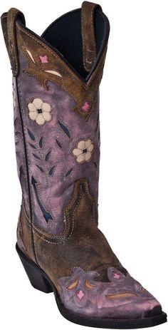 "Women's Laredo ""Miss Kate"" Tan/Pink with Arrow Inlay Snip Toe Western Boots #Laredo #CowboyWestern"