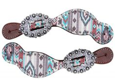 "Showman ® Ladies Size Leather Spur Straps with Navajo diamond print. These straps feature multi colored Navajo diamond print with a large engraved buckle. Adjusts 7.5"" to 9""."