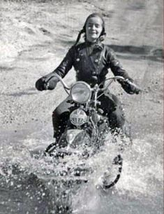 Girl on an old motorcycle                                                                                                                                                                                 More
