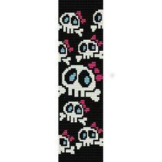Girly Skulls - beading cuff bracelet pattern for peyote or loom Loom Bracelet Patterns, Peyote Stitch Patterns, Seed Bead Patterns, Bead Loom Bracelets, Weaving Patterns, Peyote Beading, Seed Bead Jewelry, Seed Beads, Pony Beads