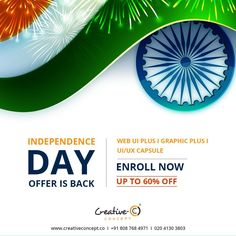 #INDEPENDENCE DAY OFFER IS BACK. ENROLL NOW AND GET UPTO 60% OFF.  BOOK YOUR SEAT NOW: 020 4130 3803  #makecareerwithcreativeconcept #staycreative #creativeconcept #joborientedcourses #UI #UX #UIUX #WEBDESIGNING #GRAPHICDESIGNING.  http://creativeconcept.co/courses.html