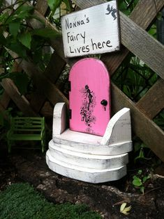 Fairy door with stairs and sign, Nonna's Fairy lives here. gifts for grandma or mom, unique gift. Ready to ship.