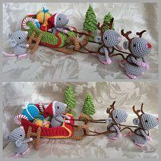 Christmas Mice And Santa's Sleigh By Uljana Semikrasa - Purchased Crochet Pattern - (ravelry):