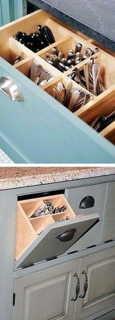 I do really like this concept of upright cutlery in a deep drawer vs the typical lying down with dividers.