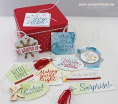 Santa's Workshop Class - Tin of Tags includes 30 gift tags (3 each of 10 designs) and tin. $26
