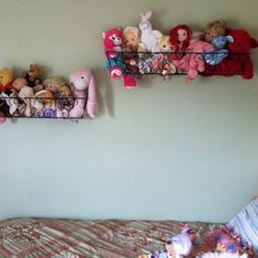 A easy way to store stuffed animals. Should do this in the toy room.