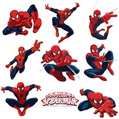 Spiderman Sticker Pack for Kids Room Wall Decor Peel and Stick Wall Decal for Ultimate Spiderman Party Decoration by Dekosh ** Check out the image by visiting the link-affiliate link. Spiderman Poses, Spiderman Pictures, Spiderman Theme, Amazing Spiderman, Spiderman Craft, Spiderman Wall Decals, Spiderman Stickers, Kids Wall Decals, Wall Stickers