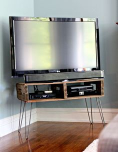 Pallet TV Stand with hair pin legs and natural stain