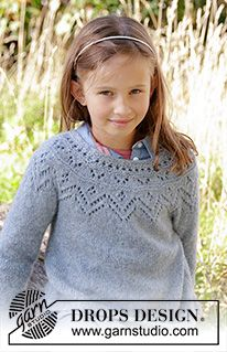 Ravelry: Agnes Sweater pattern by DROPS design Kids Knitting Patterns, Lace Patterns, Knitting For Kids, Knitting Designs, Free Knitting, Knitting Projects, Baby Knitting, Crochet Patterns, Knitting Sweaters