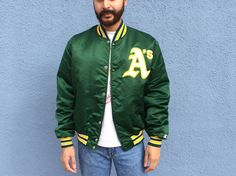 Oakland Athletics Starter Jacket XL Extra Large 90s Vintage Oakland Athletics Green Starter Jacket Extra Large xl Vintage MLB Baseball by DiveVintage from Passport Vintage. Find it now at http://ift.tt/2jvol2O!