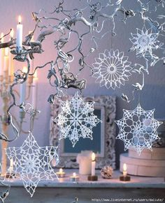 I love snowflakes. I love to crochet them and to decorate with them. We use them as Christmas tree ornaments and on hanging wreath. Every year I'm asked to share crochet snowflakes diagrams& Crochet Snowflake Pattern, Crochet Snowflakes, Doily Patterns, Crochet Motif, Crochet Flowers, Crochet Patterns, Free Crochet, Crochet Christmas Ornaments, Holiday Crochet