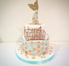 I made this pretty for a little girls themed party - 2 tiers of decorated with a mermaid tail , golden and a sparkly happy birthday , very cute ! Mermaid Birthday Cakes, Mermaid Cakes, Cupcakes, Cupcake Cakes, Sirenita Cake, Little Mermaid Parties, Girl Cakes, Cakes And More, Themed Cakes