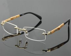 9f849fbea17c90 DOWER ME Wooden Temple Business Design Men Rimless Gold Prescription Lens  Spectacle Presbyopia Reading Eyeglasses BR866-in Reading Glasses from Men s  ...