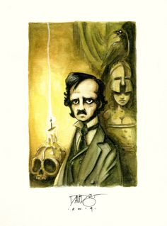 Edgar Allan Poe by David G. Forés ( watercolor & color pencils)