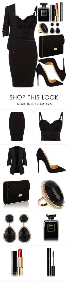 """Untitled #4288"" by natalyasidunova ❤ liked on Polyvore featuring Christian Louboutin, Mansur Gavriel, Jack Vartanian, Majolie Collections and Chanel"