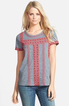 Lucky Brand Embroidered Cotton Tee available at #Nordstrom