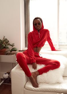 ★ HERIETH PAUL IN THE GUIZIO PT2 VELOUR TRACKSUIT IN RED ★