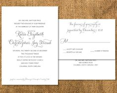 Formal Wedding Invitation and Response Postcard by janinemikell