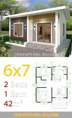 Tiny 2 Bedroom House Plans - 12 Tiny 2 Bedroom House Plans, House Design with 2 Bedrooms House Plans Flat House Design, Modern Small House Design, Simple House Design, Modern Design, Small House Layout, House Layouts, Simple House Plans, Tiny House Plans, Guest House Plans