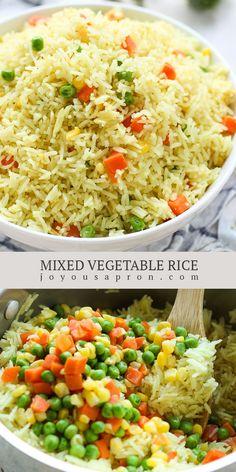 Mix Vegetable Recipe, Vegetable Rice, Vegetable Side Dishes, Vegetable Recipes, Rice Recipes, Side Dish Recipes, Casserole Recipes, Healthy Recipes, Kidney Recipes
