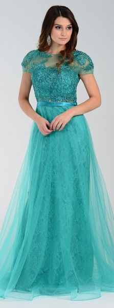6f0c8dfa3a0 ON SPECIAL LIMITED STOCK - Poly USA 7458 Floor Length Lace Prom Gown Green  Mesh Overlay