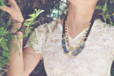Silk and Gold Chain Necklace. $20.00, via Etsy. - from Boutique Minimaliste