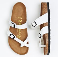 Sandals with faux patent straps and suede-lined cork and jute footbed (Birkenstock, $124)