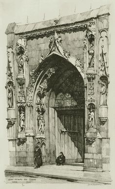 Main portal at Saint Nicolas des Champs, Paris (1924) sketch by American artist Samuel Chamberlain (1895-1975)