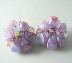 Vintage Murano Lavender Art Glass Flower Cluster Earrings