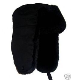 RUSSIAN FUR TRAPPER HAT LADIES WINTER SKI COSSACK BLACK