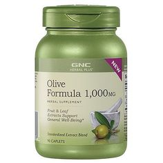 GNC Herbal Plus Olive Formula 1,000mg 2 Pack (2 Bottles of 90 Caplets Each Bottle)